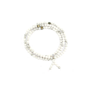 Triple Wrap Skinny Bead Bracelet with Pyrite - White Howlite