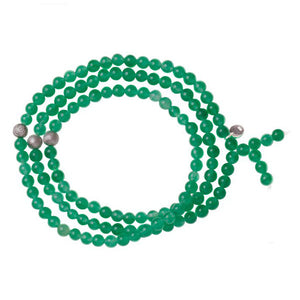 Triple Wrap Skinny Bead with Meteorites Bracelet - Jade