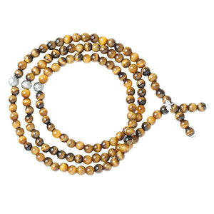 Triple Wrap Skinny Bead with Meteorites Bracelet - Tiger's Eye