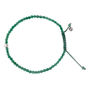 Single Super Skinny Bead with Meteorite Bracelet - Green Onyx