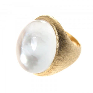 Nautical Mother of Pearl Brushed Gold Ring