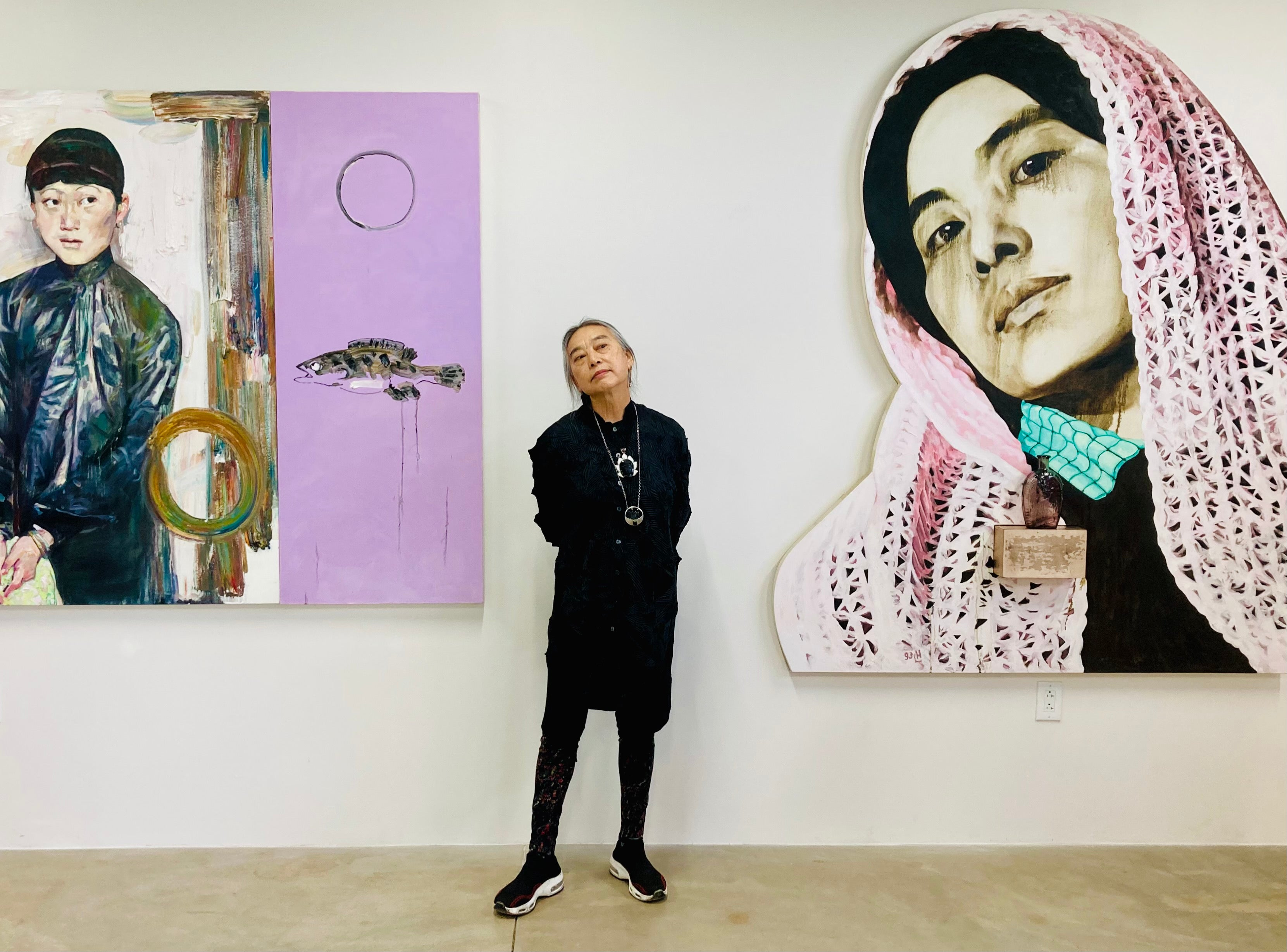 Hung Liu portrait at Pie Projects, July 17th, 2021