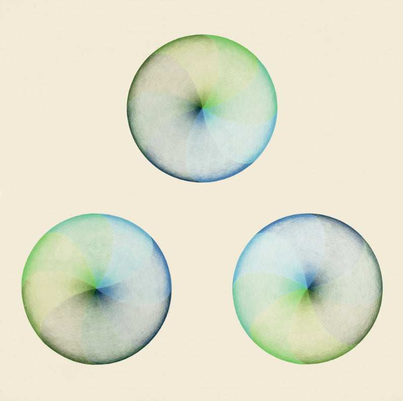 Judy Chicago, Dome Drawing Blue/Green, 1968-69, 54.75 x 54.75″framed, prismacolor on paper
