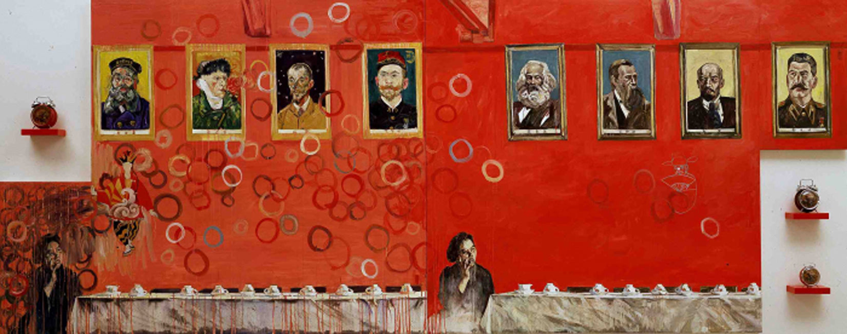 """Hung Liu, Modern Time, 2005, 66 x 168"""", oil on canvas with lacquered wood, cultural revolution clocks"""