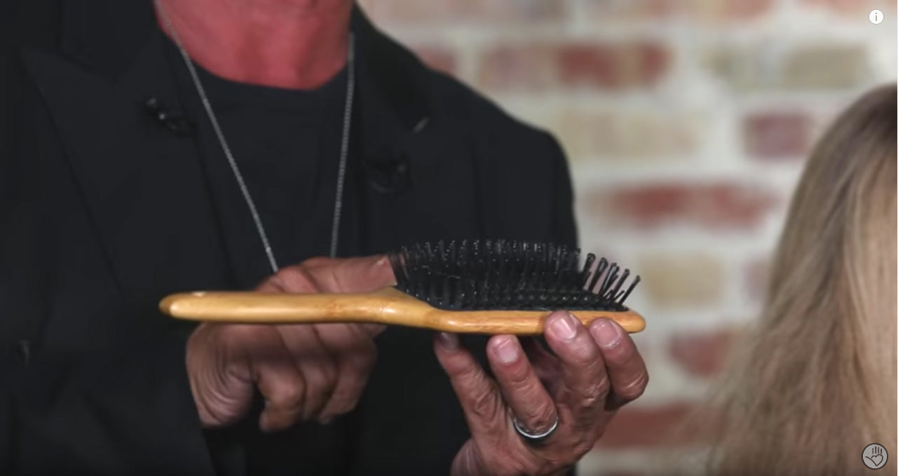 A paddle brush turned horizontally - great for wrap drying hair