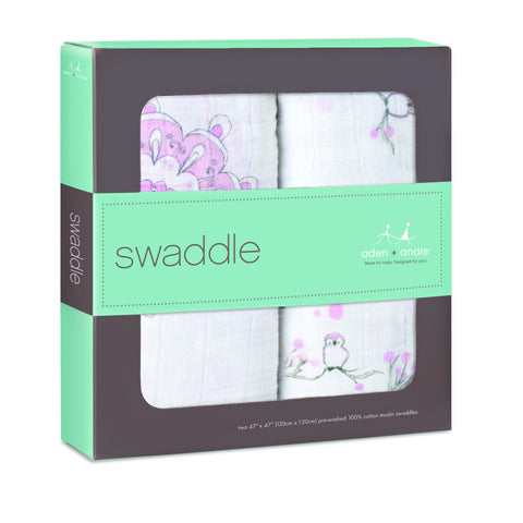 Aden & Anais Swaddle (2pk) - For The Birds - Box
