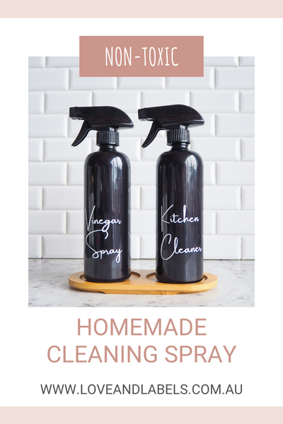 Homemade Cleaning Spray Recipe, 500ml Cleaning Bottles, Love and Labels