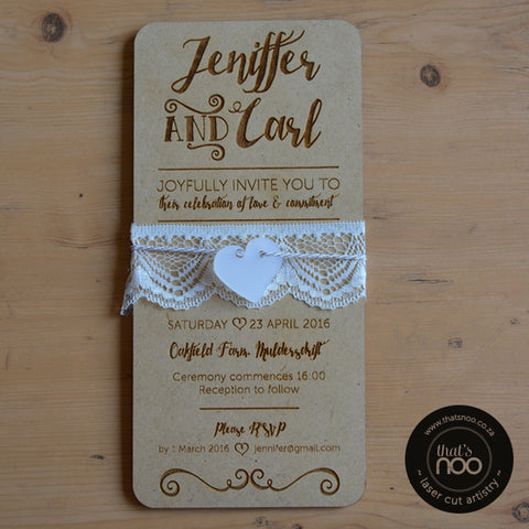 Laser Cut wooden Invite DL