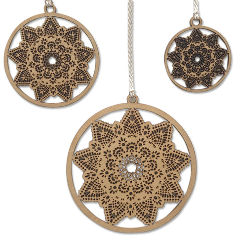 Doily Star Baubles (set of 3)