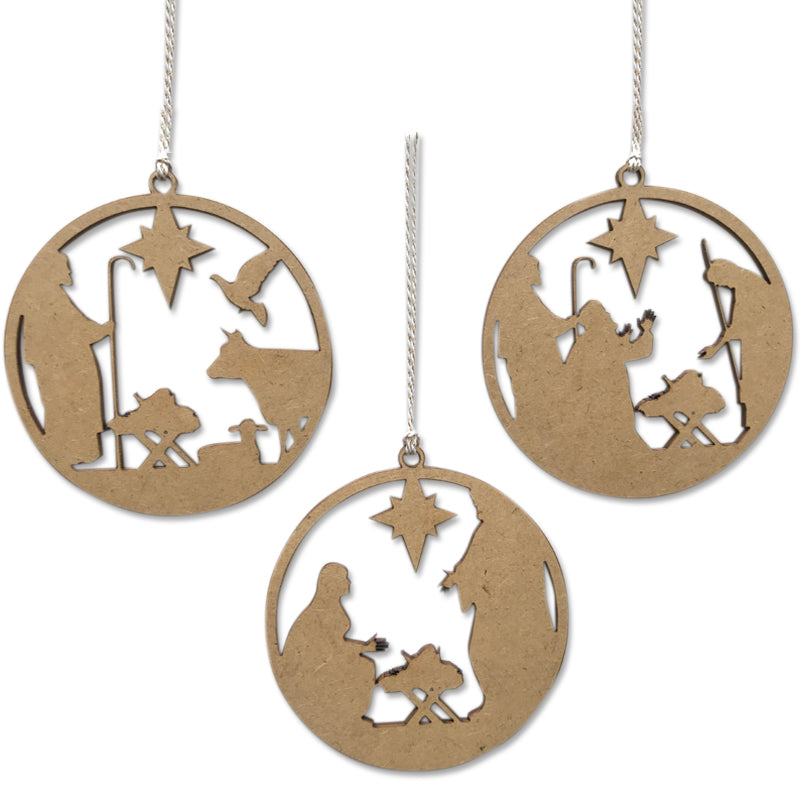 Nativity Scene Baubles (set of 3)