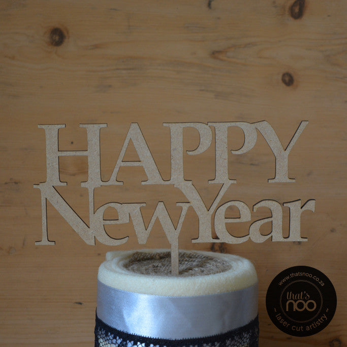 Happy New Year Serif Cake Topper