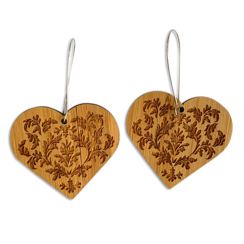 Engraved Heart Earrings