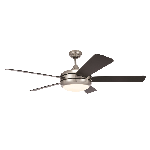52 Ceiling Fan 120v 60hz Brushed Nickel Body Finish Plywood Black Blade Frosted White Light Direct Construction Supply
