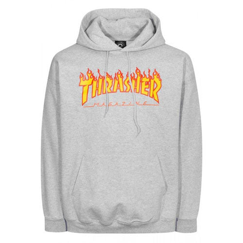 Thrasher Flame Logo Hood Grey