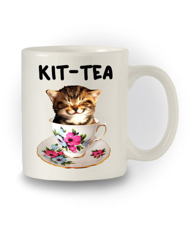 Chintzy Kitsch 'Kit Tea'  Cat Humour Mug