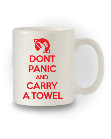 HHGTTG Inspired 'Don't Panic and Carry a Towel' Nerdy Mug