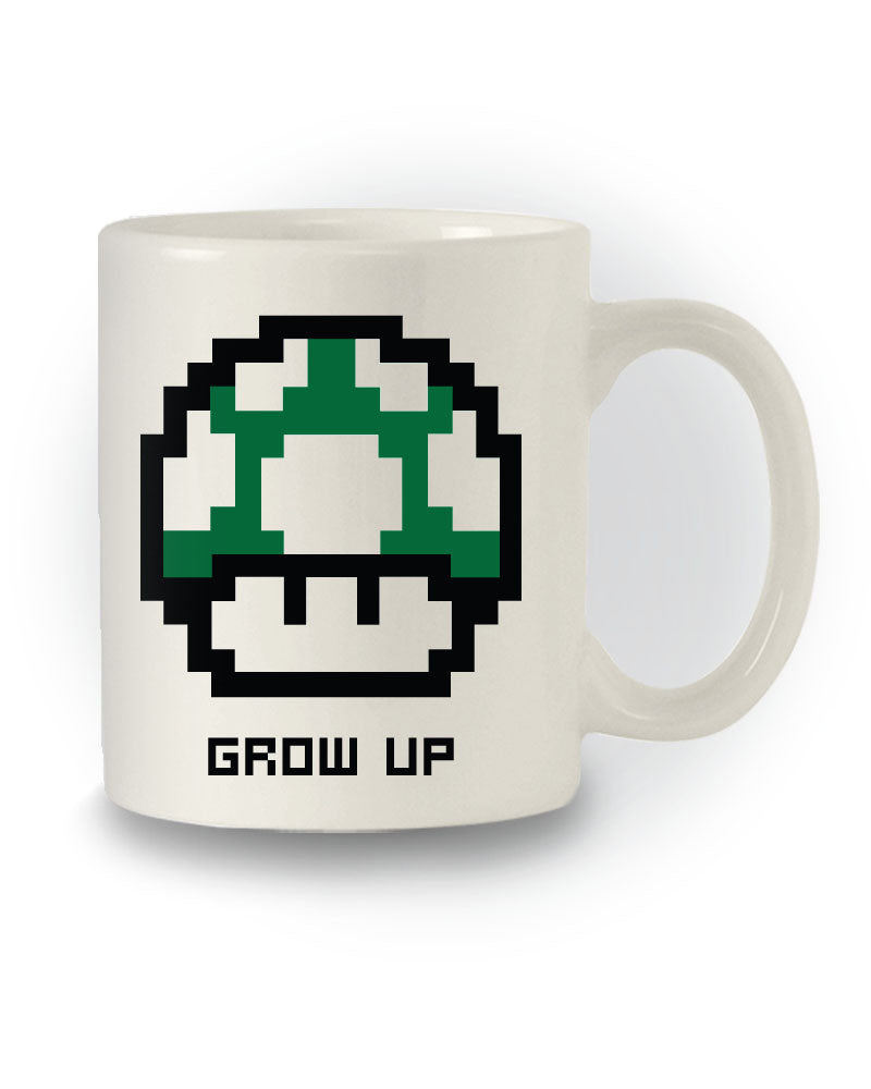 Retro Super Mario Inspired 'Grow Up' Green Mushroom Mug