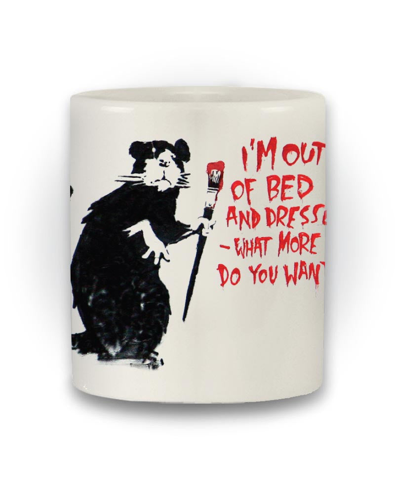 Banksy Inspired 'I'm Out Of Bed' Street Art Mug