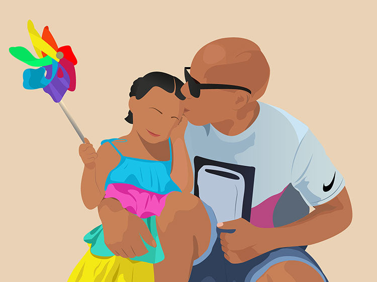 After - Custom father and daughter illustration