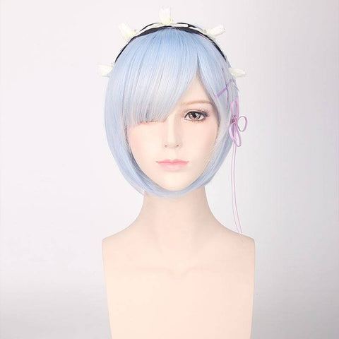 Zero -Starting Life in Another World Rem Cosplay Blue Hair Wig
