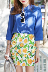 Yellow Tulip Pattern Skirt