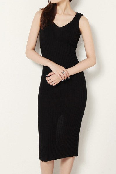 Black Color-Back Slit Dress