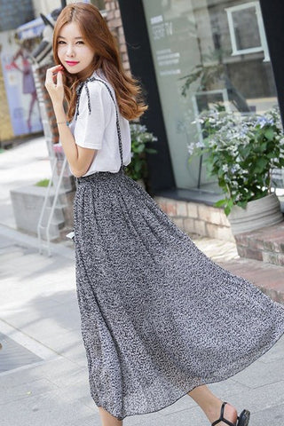 Black Flower Chiffon Long Skirt