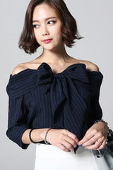Ladies Off-shoulder Ribbon Blouse