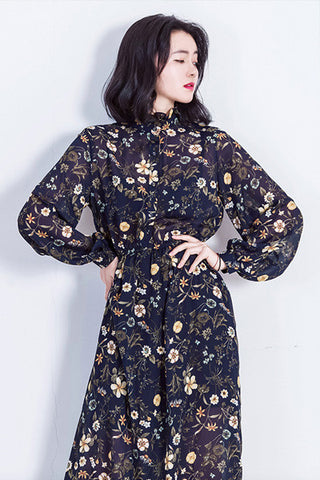 AS Feminine Vintage Flower Dress--Navy Blue
