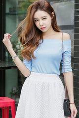 Off-shoulder Sky Blue Tshirt