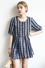 Navy Ethnic Strap Cotton Dress