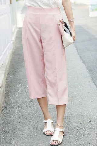 Office Lady Banding Linen Pink Pants