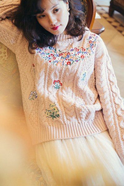 Pink Blooming Long Sleeve Angora Sweater