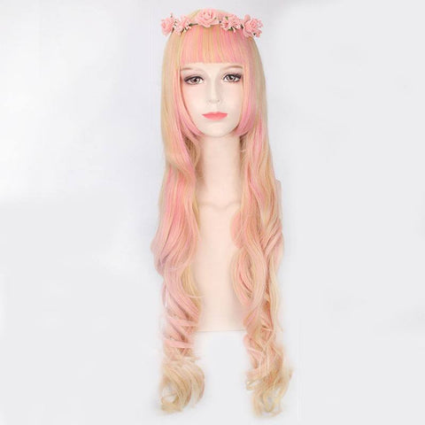 MapofBeauty Pink-Golden Cosplay Long Curl Hair Wig