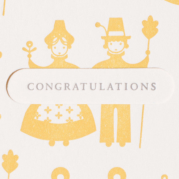 Grußkarte Letterpress - happy couple congrats