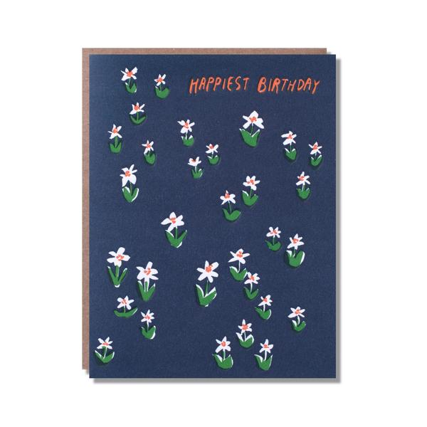 Grußkarte Letterpress - happiest Birthday meadow