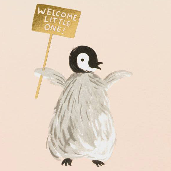 Klappkarte - Welcome Penguin
