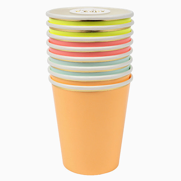 Pappbecher - Party Cups neon gold