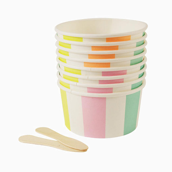 Pappbecher - Stripe Ice Cream Candy Cups