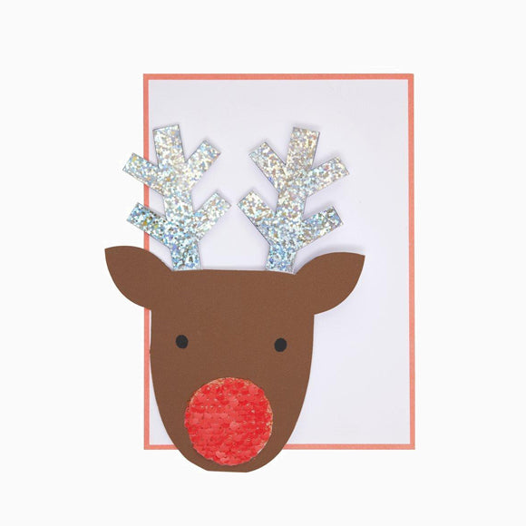 Grußkarte - Sequin Nose Reindeer Card