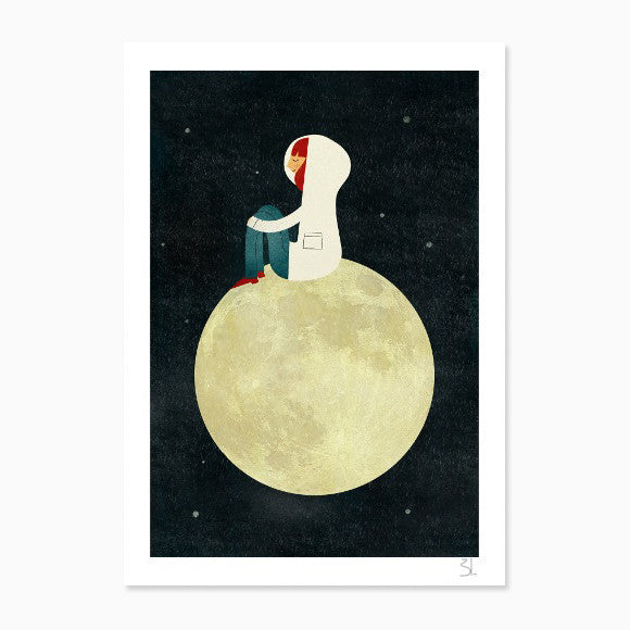 Kunstdruck - On the moon A4