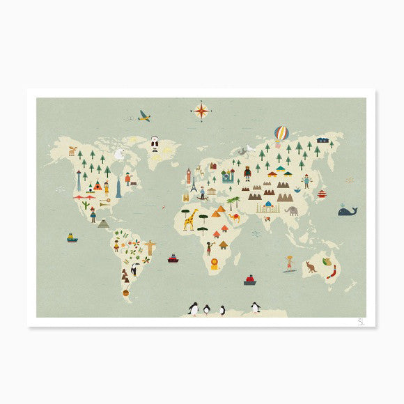 Kunstdruck - Worldmap A3+