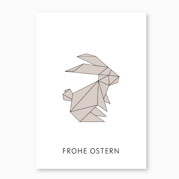 Postkarte - Frohe Ostern Hase greige