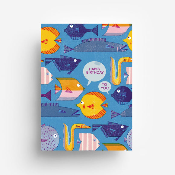 Postkarte - Birthday Fishes