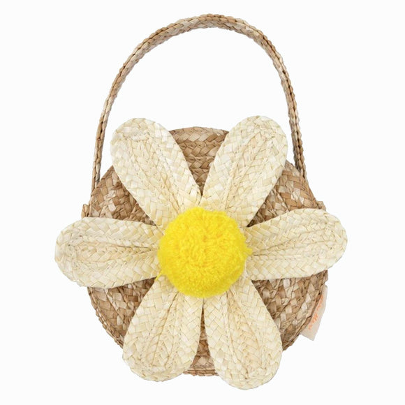 Tasche - White Daisy Straw Bag