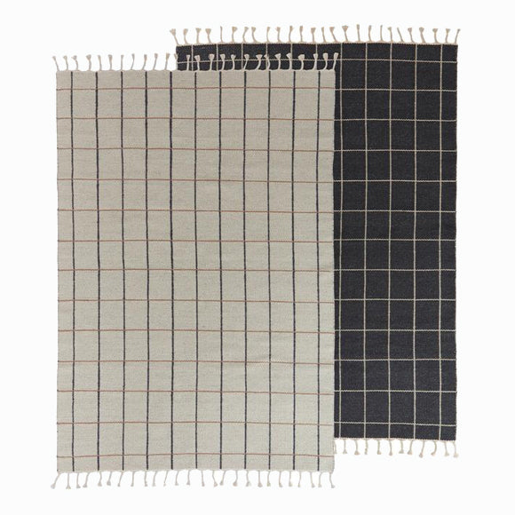 Teppich - Grid Rug Offwhite/Anthracite