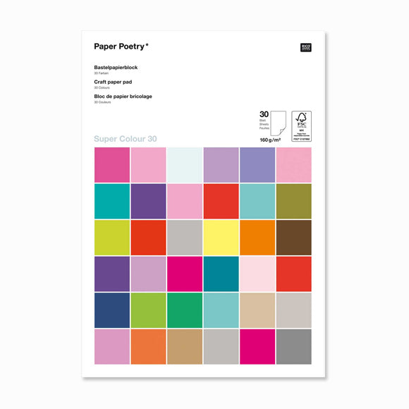 Bastelblock - Bastelpapierblock Super Multi Colours A4 30 Blatt 160g