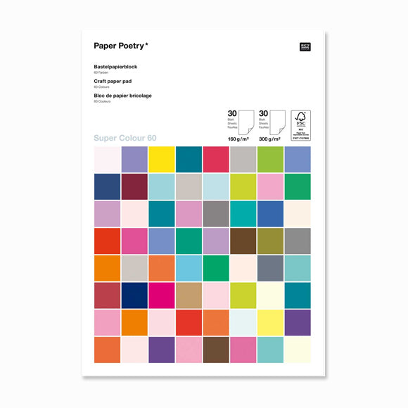 Bastelblock - Bastelpapierblock Super Multi Colours A4 60 Blatt