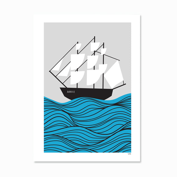 Poster - Pirate Ship gray Ahoi