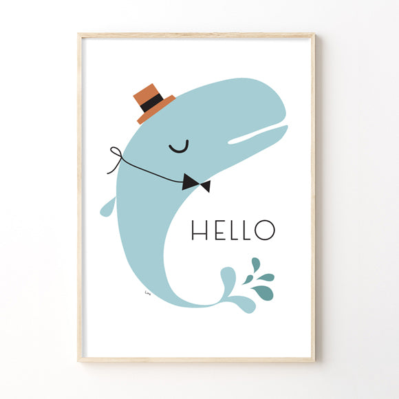 Poster - Whale blue Hello